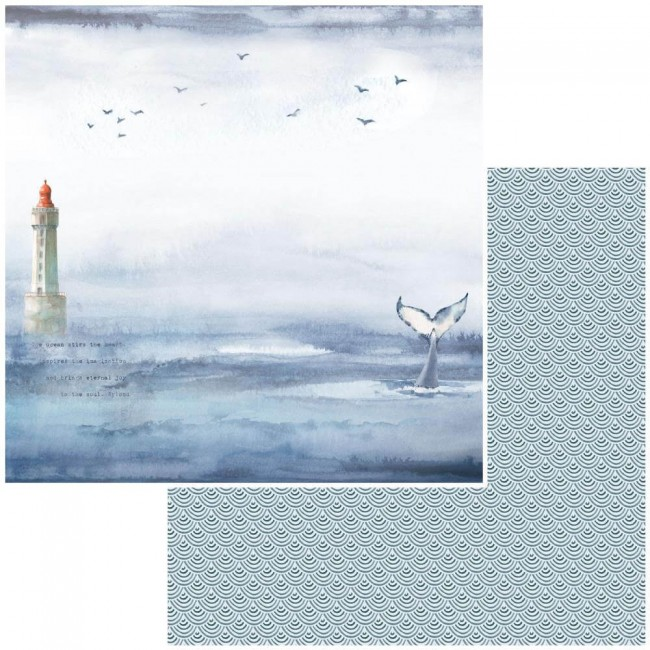 Papel Estampado Doble Cara 12x12 Seaside Whales Tales