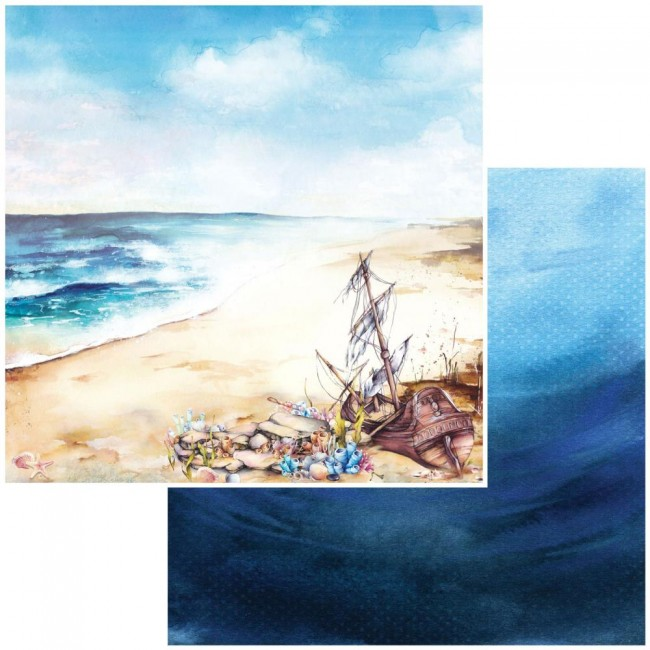 Papel Estampado Doble Cara 12x12 Shipwreck Beached