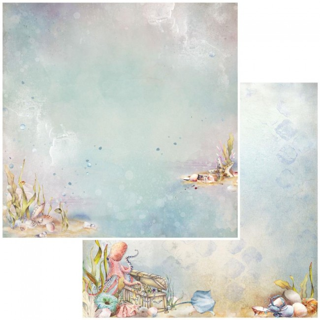 Papel Estampado Doble Cara 12x12 Shipwreck Underwater Treasures