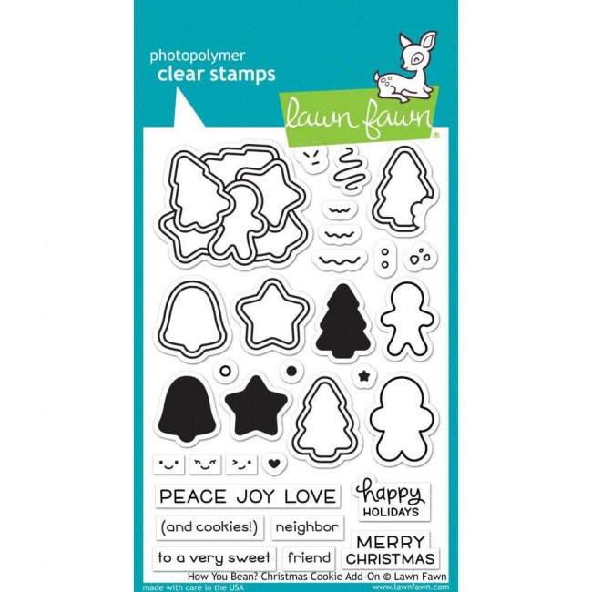 Sello Acrílico 4x6 Lawn Fawn How You Bean? Christmas Cookie Add-On