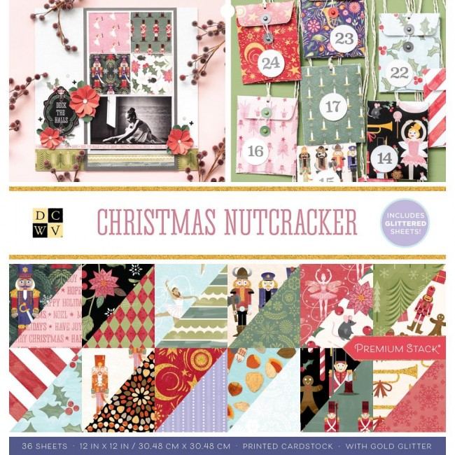Stack Papeles Estampados 12x12 Christmas Nutcracker