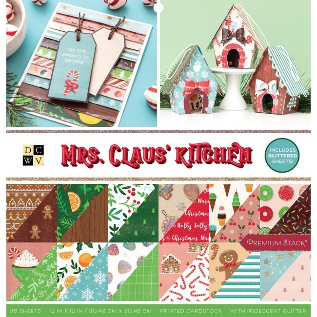 Stack Papeles Estampados 12x12 Mrs. Claus' Kitchen