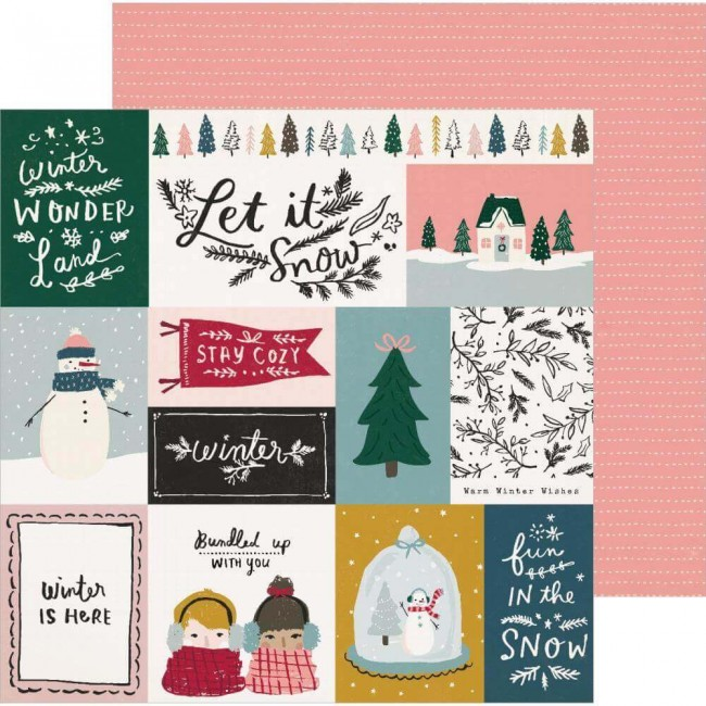Papel Estampado Doble Cara 12x12 Snowflake Bundled