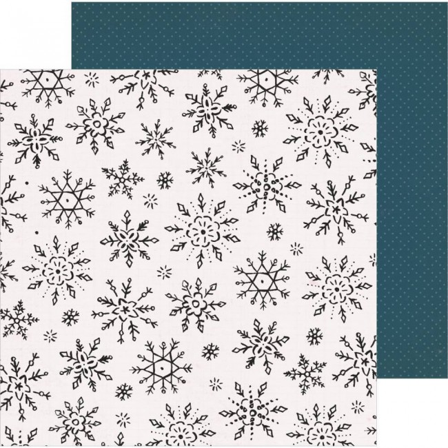 Papel Estampado Doble Cara 12x12 Snowflake Winterscape
