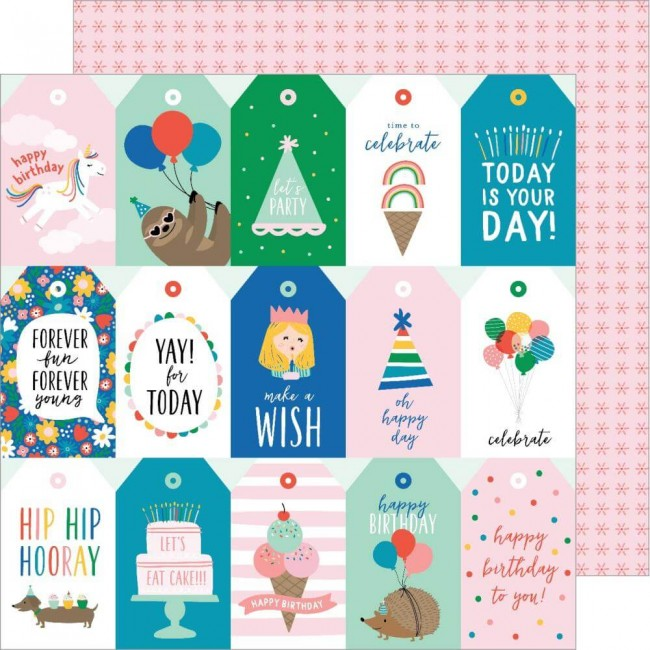 Papel Estampado Doble Cara 12x12 Happy Cake Day Happy Birthday