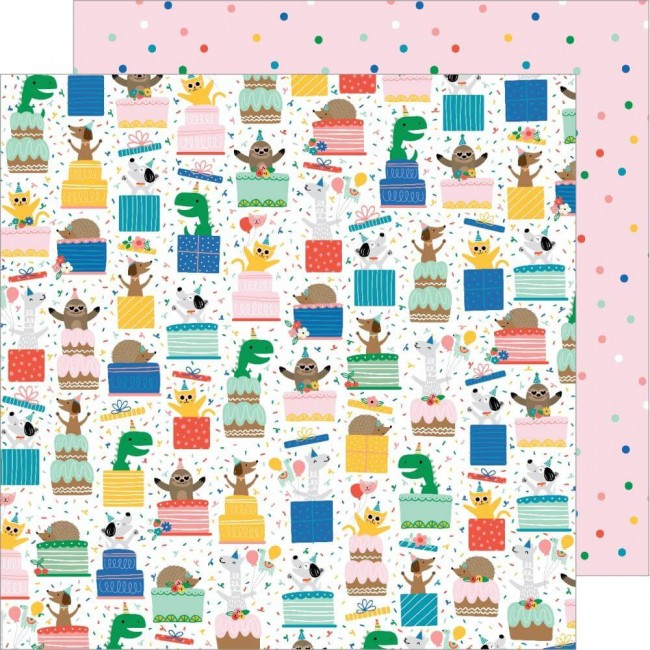 Papel Estampado Doble Cara 12x12 Happy Cake Day Surprise