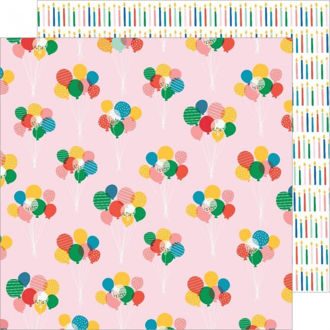 Papel Estampado Doble Cara 12x12 Happy Cake Day Balloon Bouquet