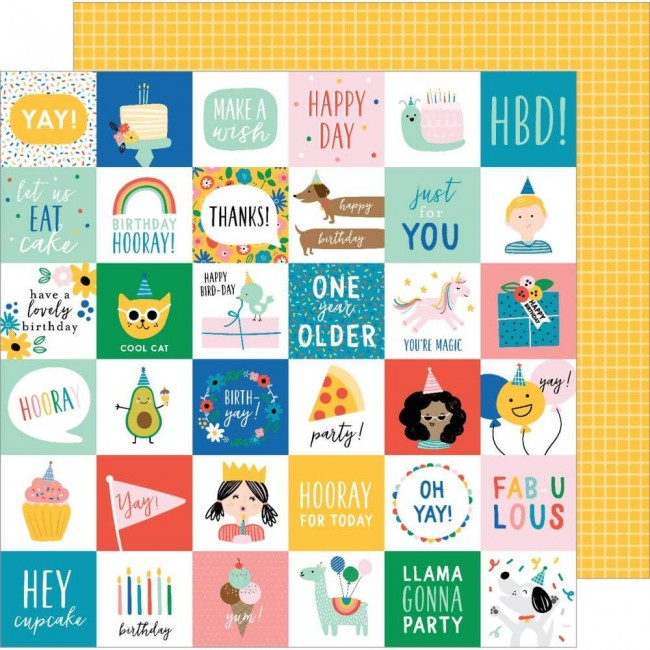 Papel Estampado Doble Cara 12x12 Happy Cake Day Birth-Yay