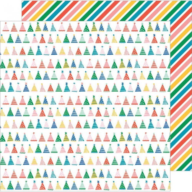 Papel Estampado Doble Cara 12x12 Happy Cake Day Party Hats