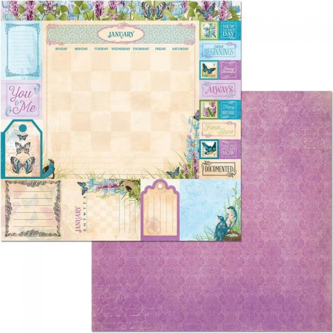 Papel Estampado Doble Cara 12x12 Time & Place January