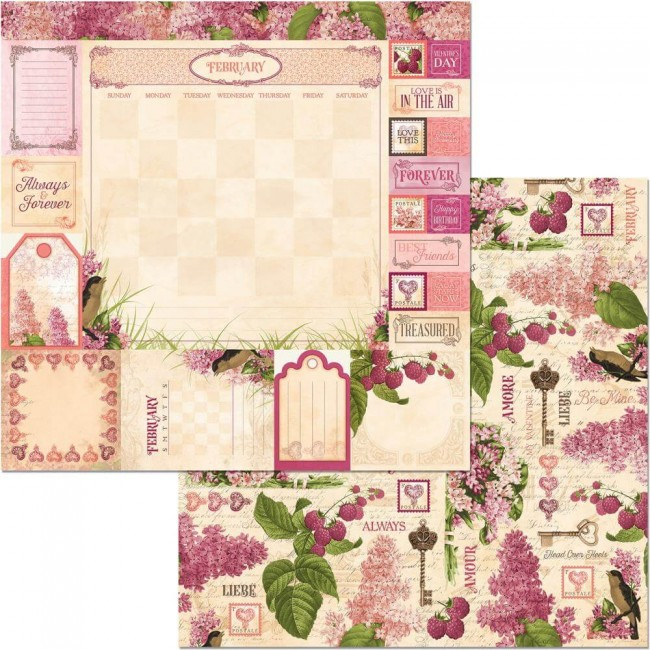 Papel Estampado Doble Cara 12x12 Time & Place February