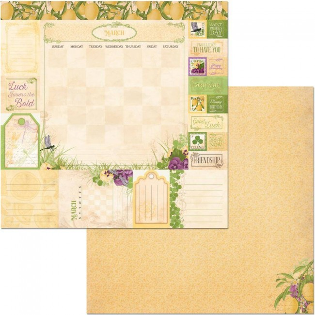 Papel Estampado Doble Cara 12x12 Time & Place March