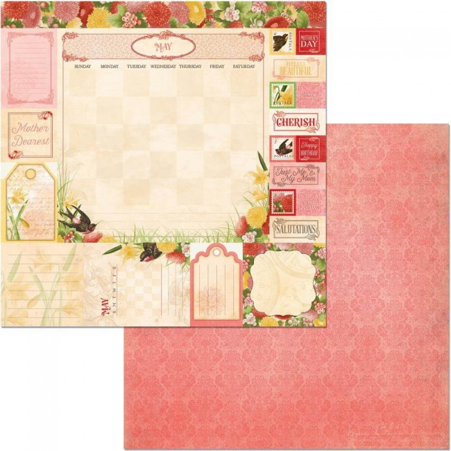 Papel Estampado Doble Cara 12x12 Time & Place May
