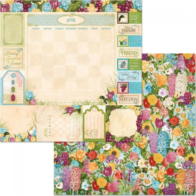 Papel Estampado Doble Cara 12x12 Time & Place June