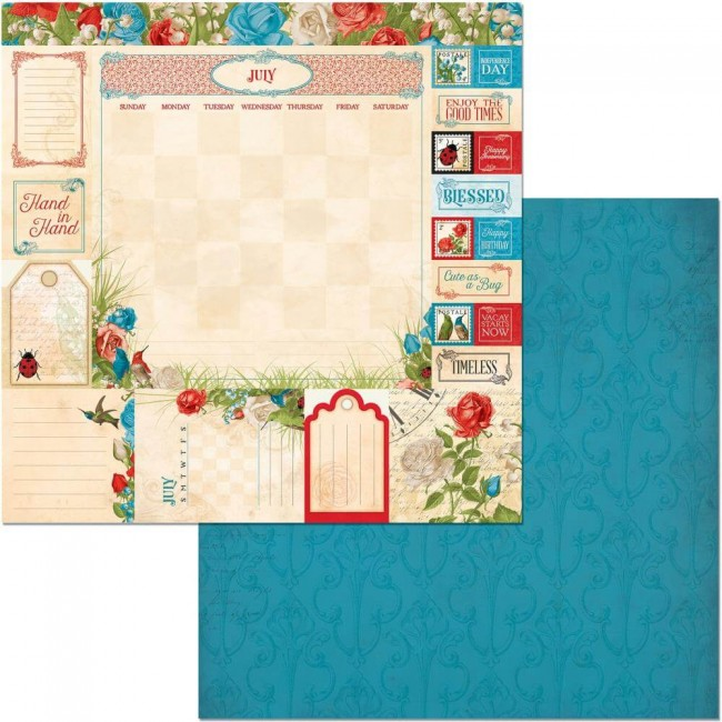 Papel Estampado Doble Cara 12x12 Time & Place July
