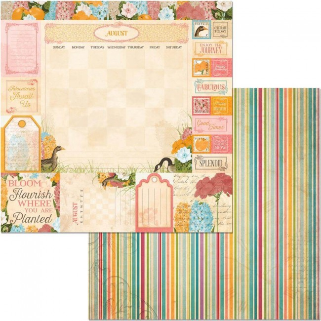 Papel Estampado Doble Cara 12x12 Time & Place August