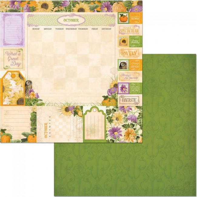 Papel Estampado Doble Cara 12x12 Time & Place October