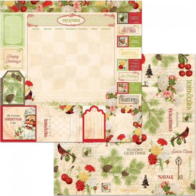 Papel Estampado Doble Cara 12x12 Time & Place December