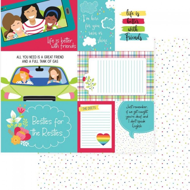Papel Estampado Doble Cara 12x12 Best Friends BFF