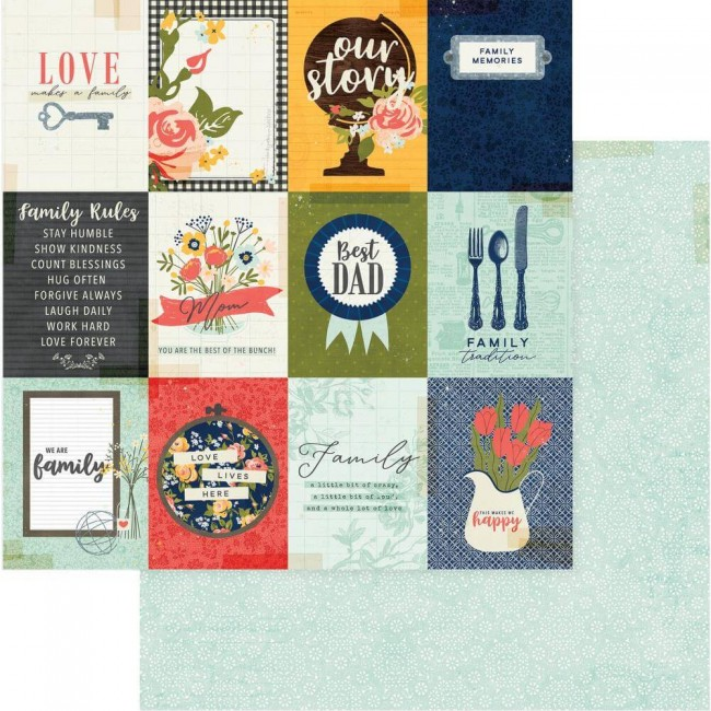 Papel Estampado Doble Cara 12x12 We Are Family Family Rules