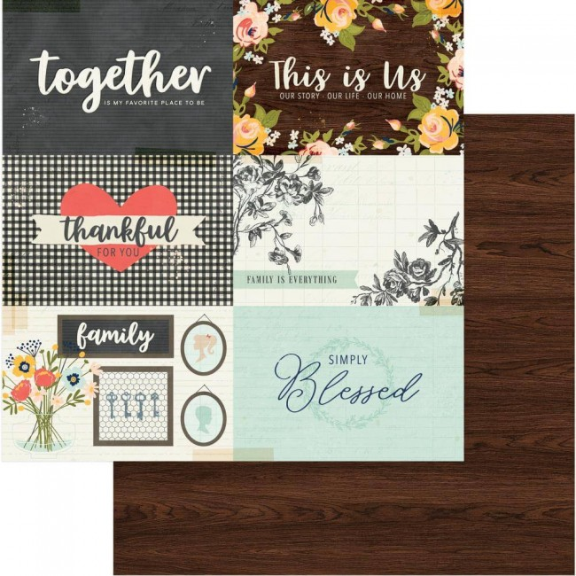 Papel Estampado Doble Cara 12x12 We Are Family Our Story