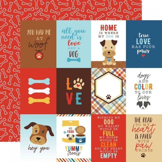 "Papel Estampado Doble Cara 12x12 I Love My Dog 3""X4"" Journaling Cards"