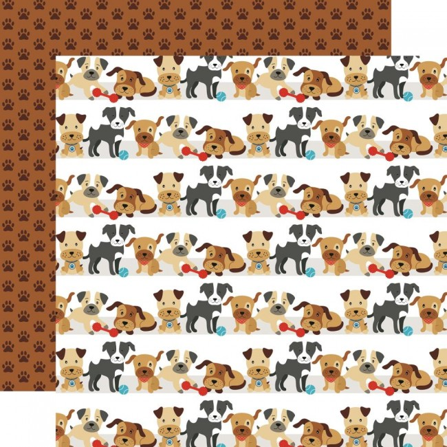 Papel Estampado Doble Cara 12x12 I Love My Dog Go Fetch