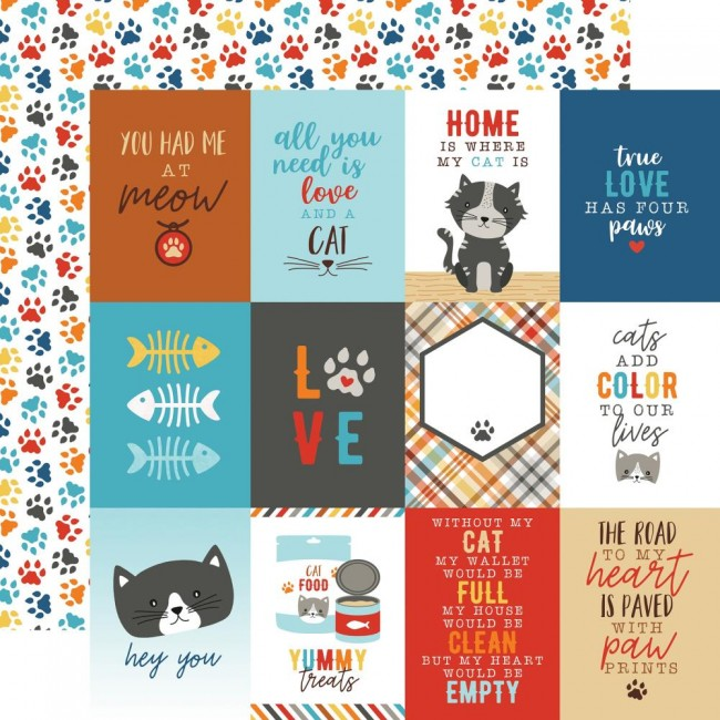 "Papel Estampado Doble Cara 12x12 I Love My Cat 3""X4"" Journaling Cards"