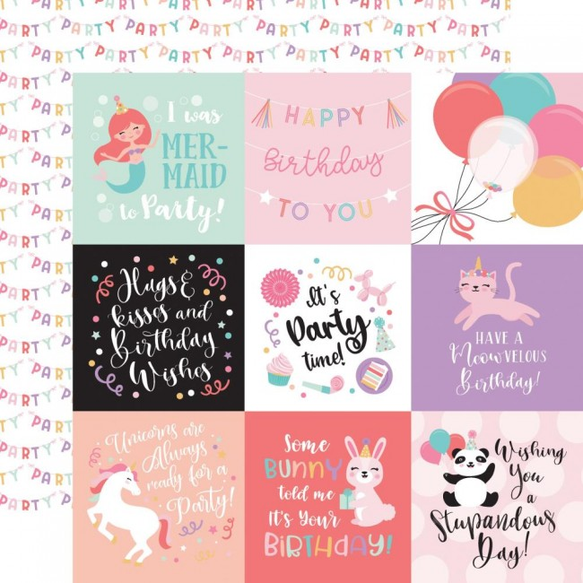 "Papel Estampado Doble Cara 12x12 It's Your Birthday Girl 4""X4"" Journaling Cards"