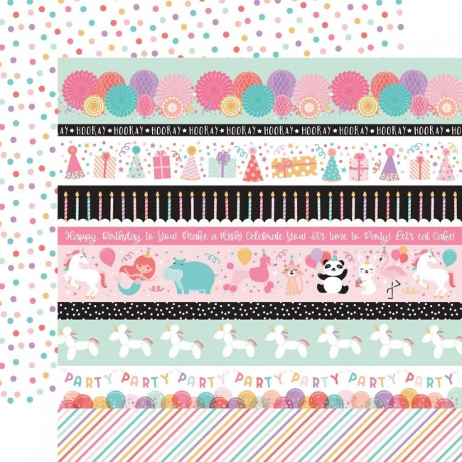 Papel Estampado Doble Cara 12x12 It's Your Birthday Girl Border Strips