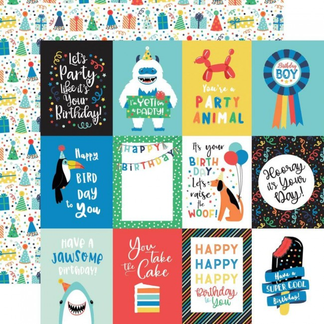"Papel Estampado Doble Cara 12x12 It's Your Birthday Boy 3""X4"" Journaling Cards"
