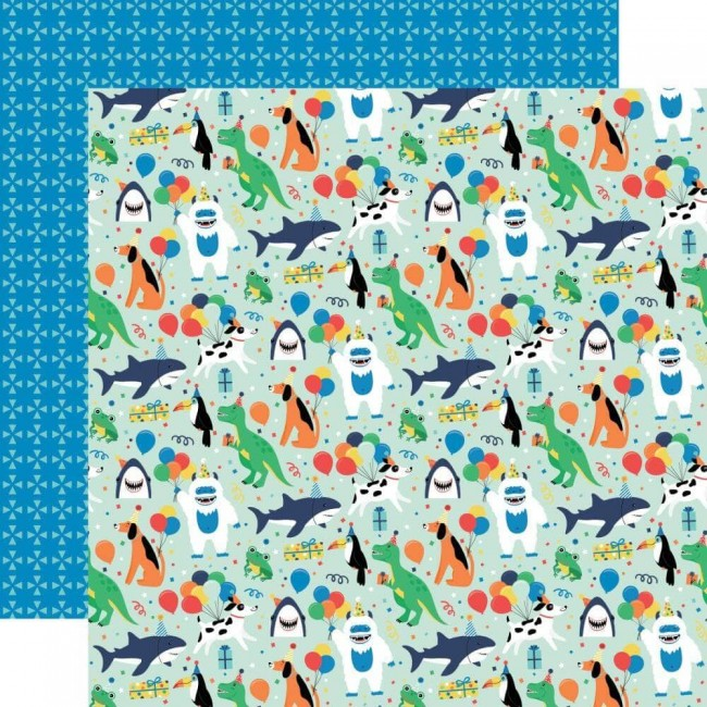 Papel Estampado Doble Cara 12x12 It's Your Birthday Boy Boy Party Animals