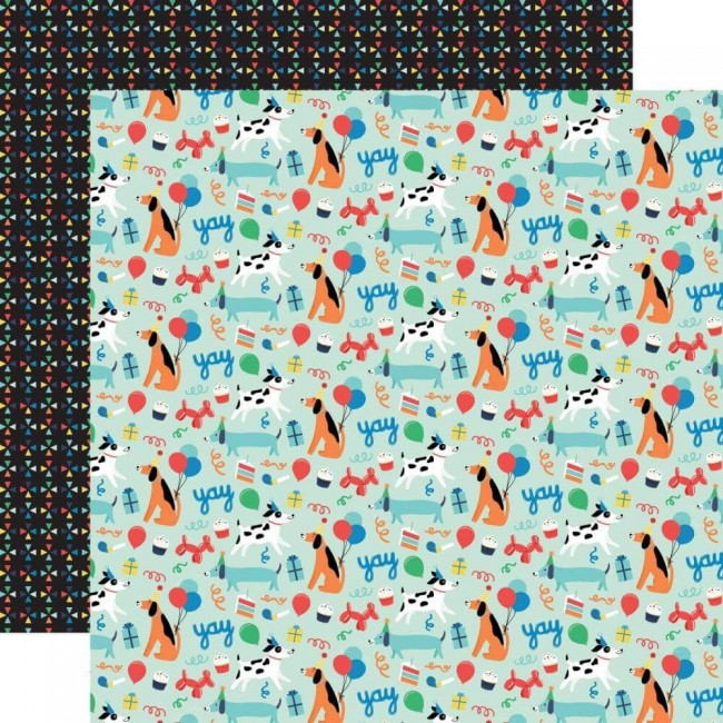 Papel Estampado Doble Cara 12x12 It's Your Birthday Boy Dog Party
