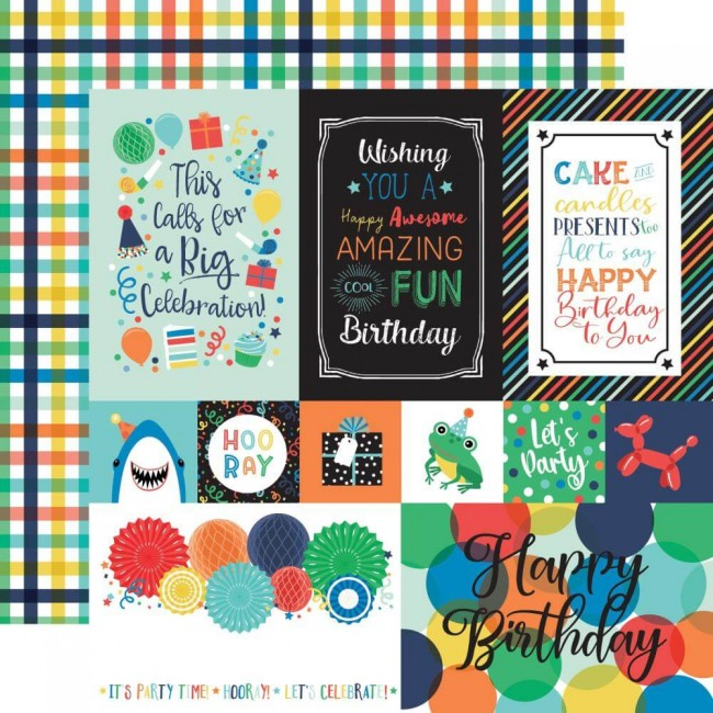 Papel Estampado Doble Cara 12x12 It's Your Birthday Boy Multi Journaling Cards