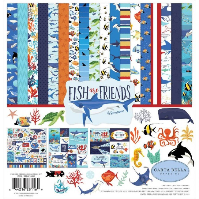 Kit Papeles Estampados 12x12 Fish Are Friends