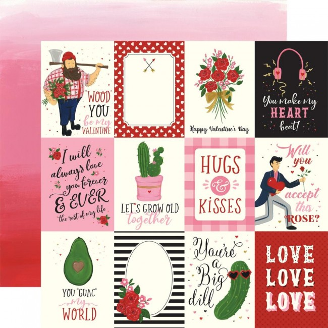"Papel Estampado Doble Cara 12x12 Be My Valentine 3""X4"" Journaling Cards"