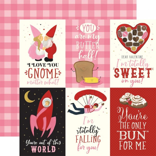 "Papel Estampado Doble Cara 12x12 Be My Valentine 4""X6"" Journaling Cards"