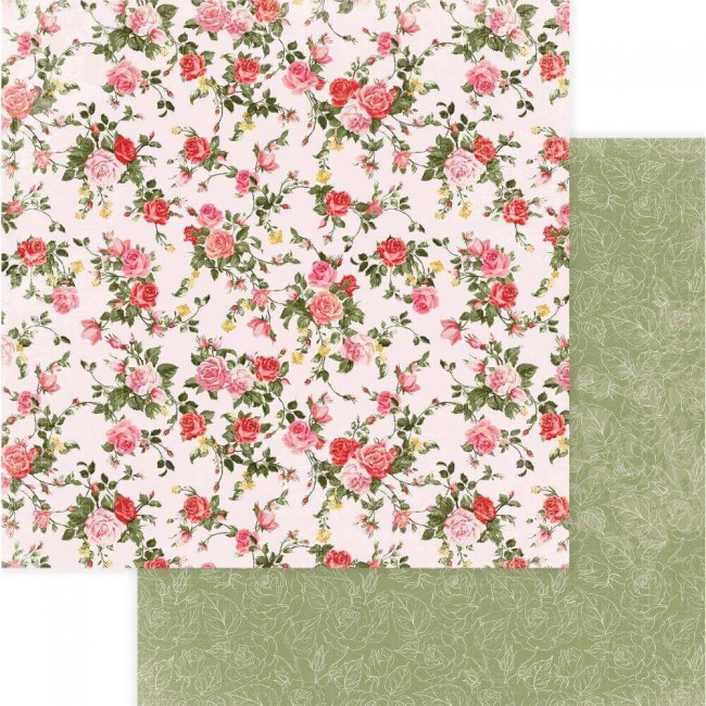 Papel Estampado Doble Cara 12x12 Be Mine Dozen Roses