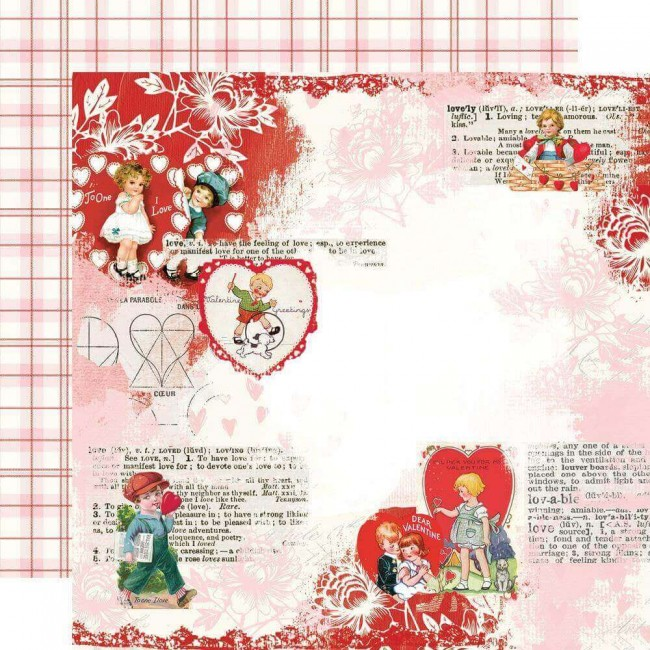 Papel Estampado Doble Cara 12x12 Simple Vintage My Valentine Love You