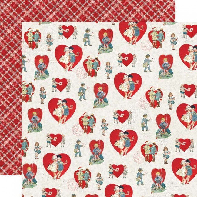 Papel Estampado Doble Cara 12x12 Simple Vintage My Valentine Sweet On You