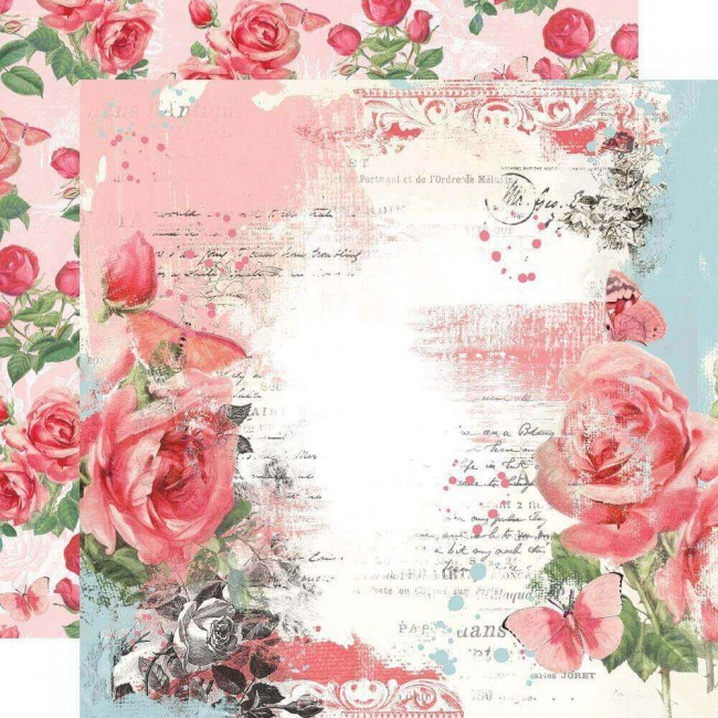 Papel Estampado Doble Cara 12x12 Simple Vintage My Valentine My Sweetheart