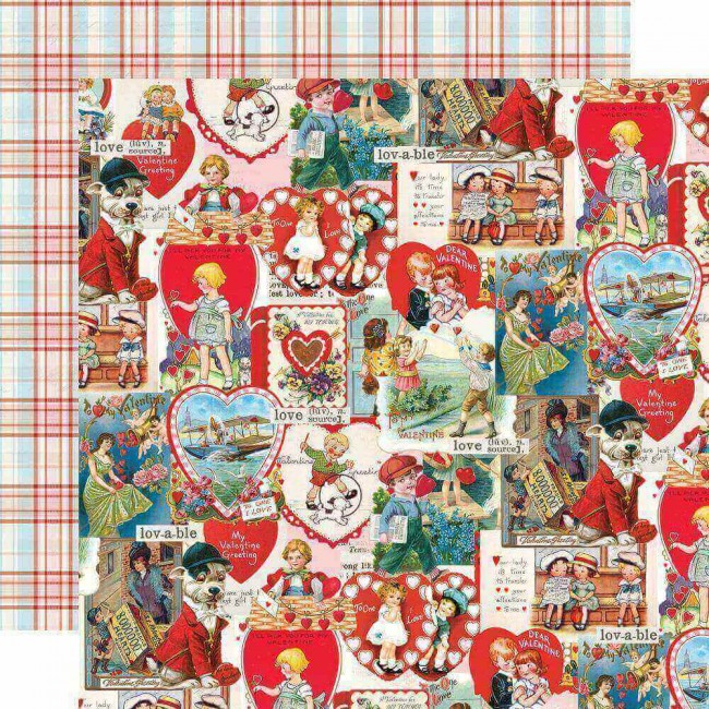 Papel Estampado Doble Cara 12x12 Simple Vintage My Valentine Love Struck