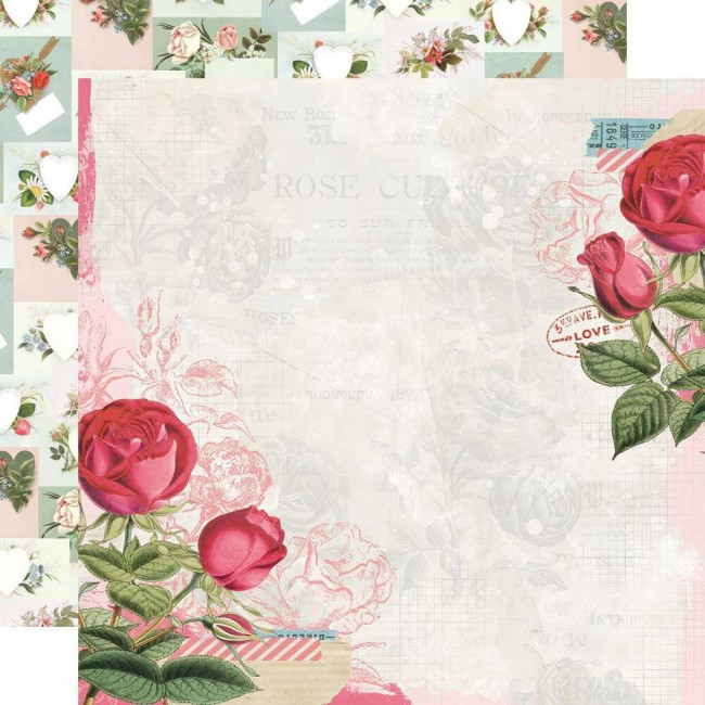 Papel Estampado Doble Cara 12x12 Simple Vintage My Valentine Roses Are Red