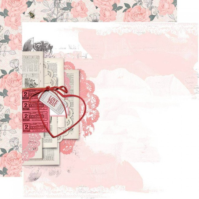 Papel Estampado Doble Cara 12x12 Simple Vintage My Valentine Just A Crush