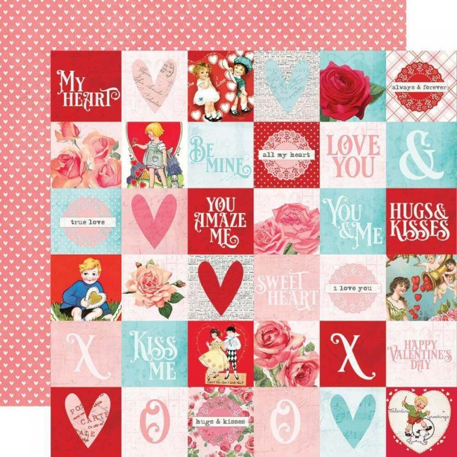 "Papel Estampado Doble Cara 12x12 Simple Vintage My Valentine 2""X2"" Elements"