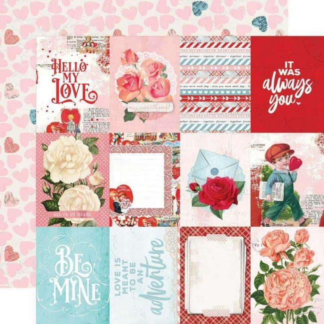 "Papel Estampado Doble Cara 12x12 Simple Vintage My Valentine 3""X4"" Elements"