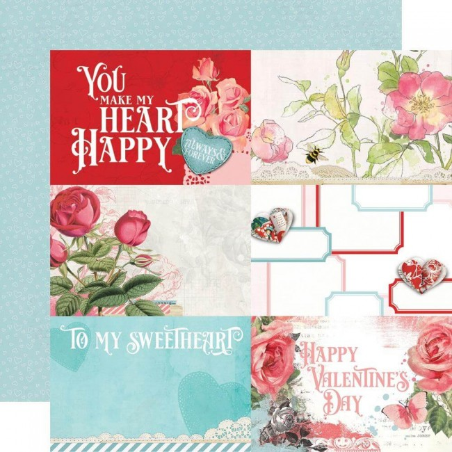 "Papel Estampado Doble Cara 12x12 Simple Vintage My Valentine 4""X6"" Elements"