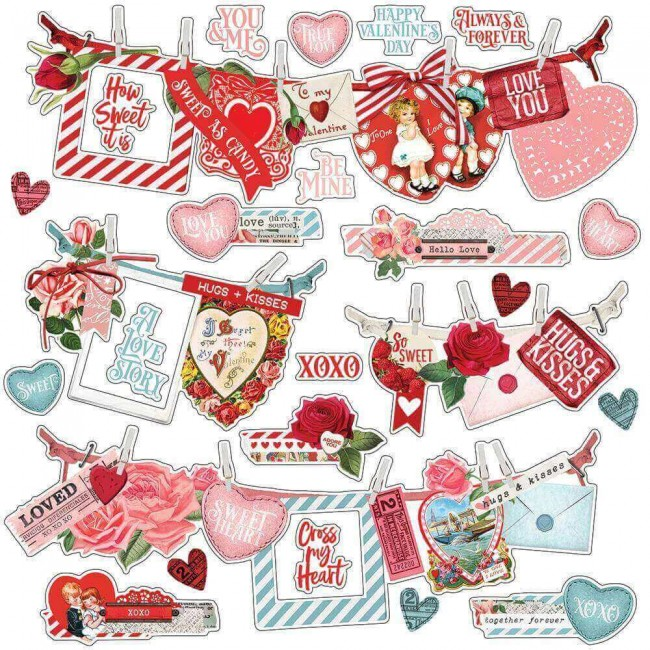 Pegatinas 12x12 Simple Vintage My Valentine Banners