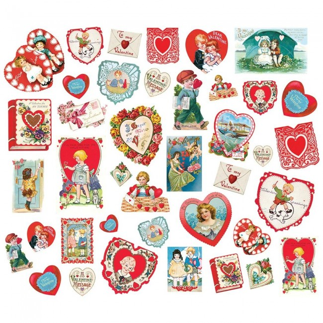 Die Cuts Simple Vintage My Valentine Card Ephemera
