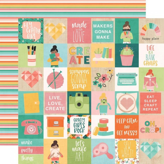 "Papel Estampado Doble Cara 12x12 Hey, Crafty Girl 2""X2"" Elements"